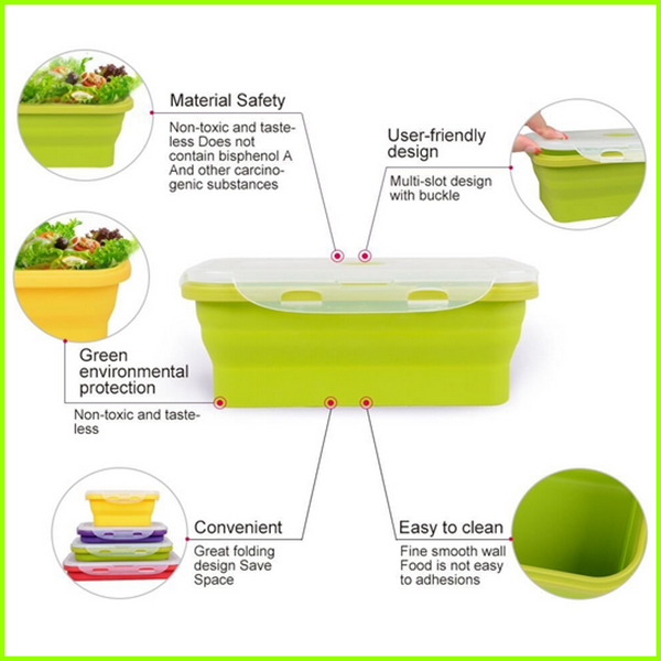 Set Of 4 Non-toxic Collapsible Silicone Lunch Box Set