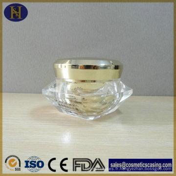 Luxe en gros diamant cosmétiques en plastique forme 50g pot acrylique de crème