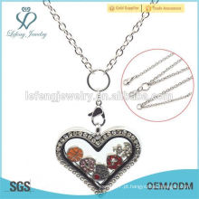 Coração de aço inoxidável de alta qualidade flutuante locket cadeia locket colar