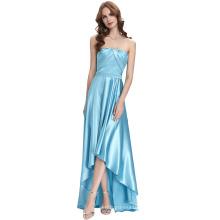Kate Kasin Strapless palabra de longitud de seda-como cielo azul alto bajo vestido de fiesta vestido de baile de noche KK000112-1