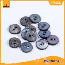 Natural MOP negro Shell botón de la camisa BN80070