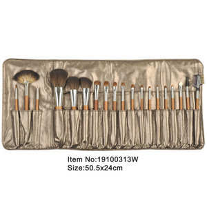 19pcs metal brown plastic handle animal/nylon hair makeup brush tool set with matching color satin case