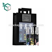 Boîte de papier cosmétique de carton de carton de soins de la peau noire de mode