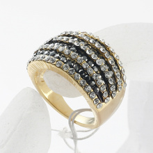 Classic Gold Plated Rhinestones Studded Finger Ring for women wholesale