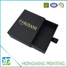 Gold Logo Black Cardboard Slide Jewelry Box