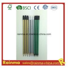 Lápis de Hb de madeira de metal cor prata Metal barril