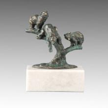 Tier Statue Drei kleine Bären Bronze Skulptur Tpal-266