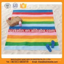2015 beautiful design colorful rainbow stripe microfiber beach towel custom