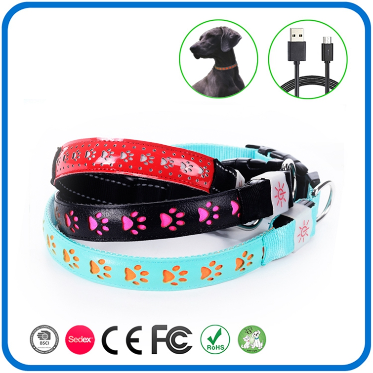 Nylon Leather Led Light Up Dog Collar Necklace
