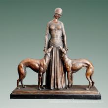 Femme Figure Bronze Sculpture Amis Intérieur Décor À La Maison Sculpture En Laiton Statue TPE-529