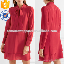Latest Design 2019 Pussy-Bow Long Sleeve Red Layered Mini Summer Dress Manufacture Wholesale Fashion Women Apparel (TA0253D)
