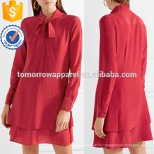 Самая последняя Конструкция 2019 киска-бантик длинный рукав Красный Наслоенные мини летнее платье Производство Оптовая продажа женской одежды (TA0253D)