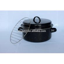 enamel roast pot with metal lid