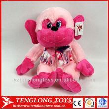 Пользовательские прекрасные розовые обезьяны с шарфом плюшевые валентинки игрушка пользовательских плюшевые игрушки