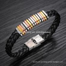 2015 novos homens de couro pulseira de titânio bracelete pulseira de aço influxo de acessórios masculinos selvagens PH866