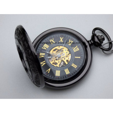 Premium Black Engraved Mechanical Pocket Watch with Chain