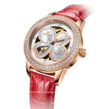 Automatische Diamant Vier Blatt Klee Damen Armbanduhr