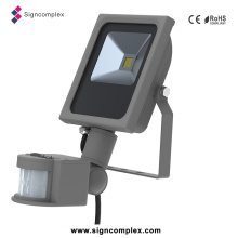 Slim COB LED Flood Sensor Light, LED Flood Light Spotlight 10W with PIR with Ce RoHS