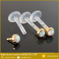 BioPlast 3mm Gold Plated Synthetic Fire Opal Top Push-In Tragus Labret Piercing
