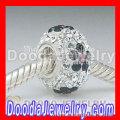 925 Sterling Silver Core European Rhinestone Glass Beads Fit European Jewelry Bracelet