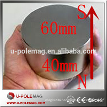 N38 N50 D60x40mm Axially Magnetized Neodymium Cylindrical Magnet