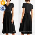 Verão preto e branco de bolinhas de chiffon com decote em v manga curta midi dress manufatura atacado moda feminina vestuário (t0310d)