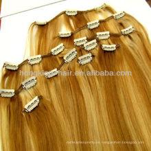 Cheap virgin remy indio clip de pelo humano en la extensión del pelo hecho en china con alta calidad