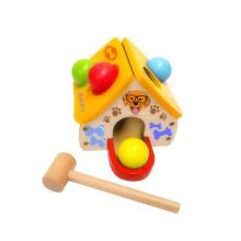 Jouet de balle en bois avec forme de chien pour enfant en bas âge