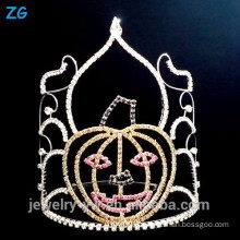 Colored Crystal Halloween Pageant Crown, Smile Pumpkins Halloween Crown
