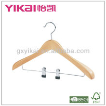 Natual wooden hanger with clips