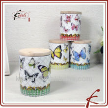 Pot en céramique papillon avec couvercle en bois