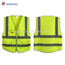 Gilet de sécurité de tirette de matériel tricoté de polyester de 100%, conception faite sur commande et veste de vêtements de sécurité de chaux de logo avec des bandes réfléchissantes