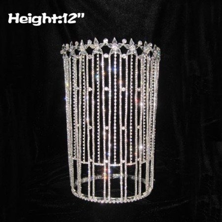 12inch Big Tall Clear Pageant Crown Queen Crowns