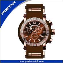 Montre multifonction quartz chronographe avec bande de silicone