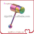 Stainless steel rainbow vibrating tongue ring body jewelry