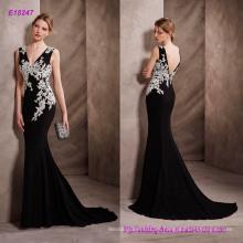 Elegante vestido de cóctel de sirena de color con escote en V en gasa con Applique Guipure y Open V