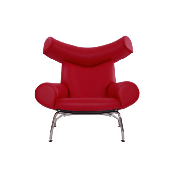 Hans Wegner Replica in pelle rossa OX Lounge Chair