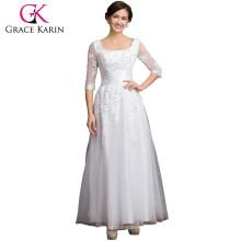 Grace Karin cuello cuadrado manga larga más la madre del tamaño de los vestidos de encaje de la novia CL6051-3 #