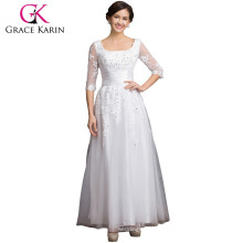 Grace Karin Square Neckline Long Sleeve plus size Mother Of The Bride Lace Dresses CL6051-3#