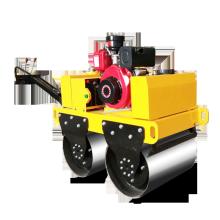 Rolo compactador de rolo de aço duplo com motor diesel