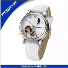 Exquisite White Leather Watch with Top Quality Movement