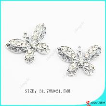 Cristal claro metal borboleta jóias charme fazendo (MPE)