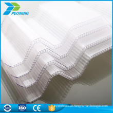 Folhas de plástico de policarbonato ondulado translúcido de PC para estufa