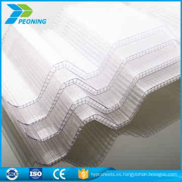 doble pared de material de policarbonato resistente techo ondulado