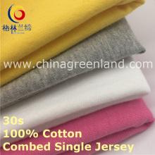 100% algodão malha única Jersey tecido para roupas de topo (GLLML421)