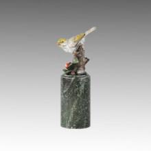 Estatua de pájaro animal Birdle feliz escultura de bronce Tpal-306
