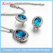 hot sale rhodium plated jewelry necklace earrings set costume for united nations