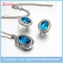 Quente venda rhodium banhado brincos colar de jóias set traje para as nações unidas