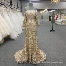 Vestidos de noite de ouro vestidos de festa de manga comprida vestido de baile Sexy Sereia vestido formal vestido para ocasião especial