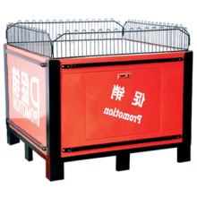 Hot sale trade show reception desk/Supermarket moveable stacking promotion cage/Supermarket metal folding promotion table